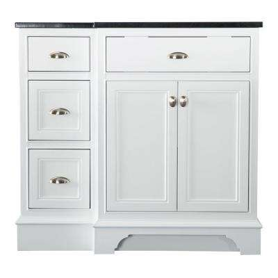 Hayward 37 in. W x 22 in. D Bath Vanity in White with Granite Vanity Top in Black