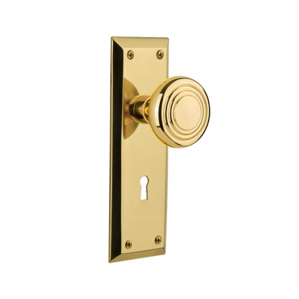 Nostalgic Warehouse New York Plate With Keyhole 2 3 8 In Backset Unlacquered Brass Passage Hall Closet Deco Door Knob 707224 The Home Depot
