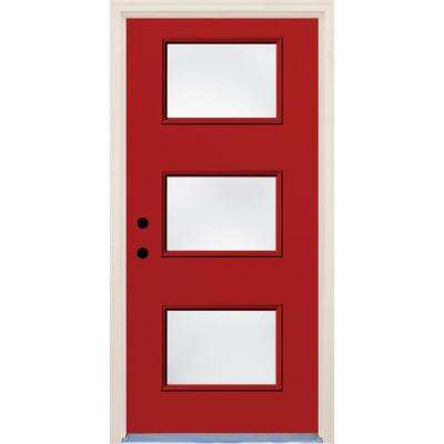 36 in. x 80 in. Right-Hand Engine 3 Lite Clear Glass Painted  sc 1 st  Home Depot & Red - Front Doors - Exterior Doors - The Home Depot
