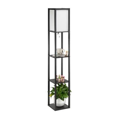 63 in. Black Etagere Floor Lamp with 3 Wood Storage Shelves and Linen Shade
