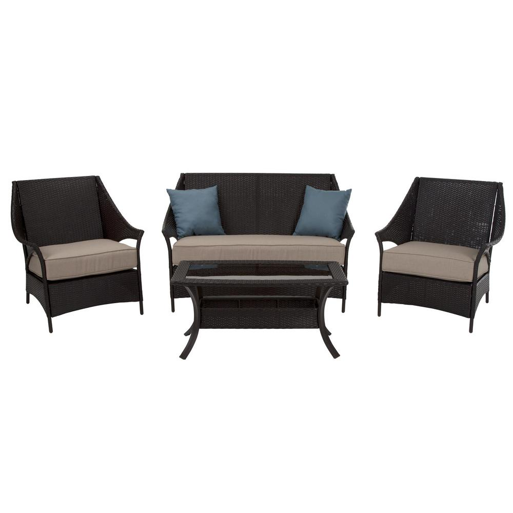 Cosco 4-Piece Lakewood Isle Dark Brown Wicker Deep Seating Patio Conversation Set with Tan Cushions and Blue Pillows