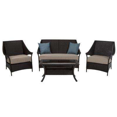 4-Piece Lakewood Isle Dark Brown Wicker Deep Seating Patio Conversation Set with Tan Cushions and Blue Pillows