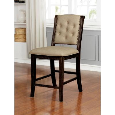 Moriarty Dark Walnut Upholstered Counter Height Dining Chairs (Set of 2)