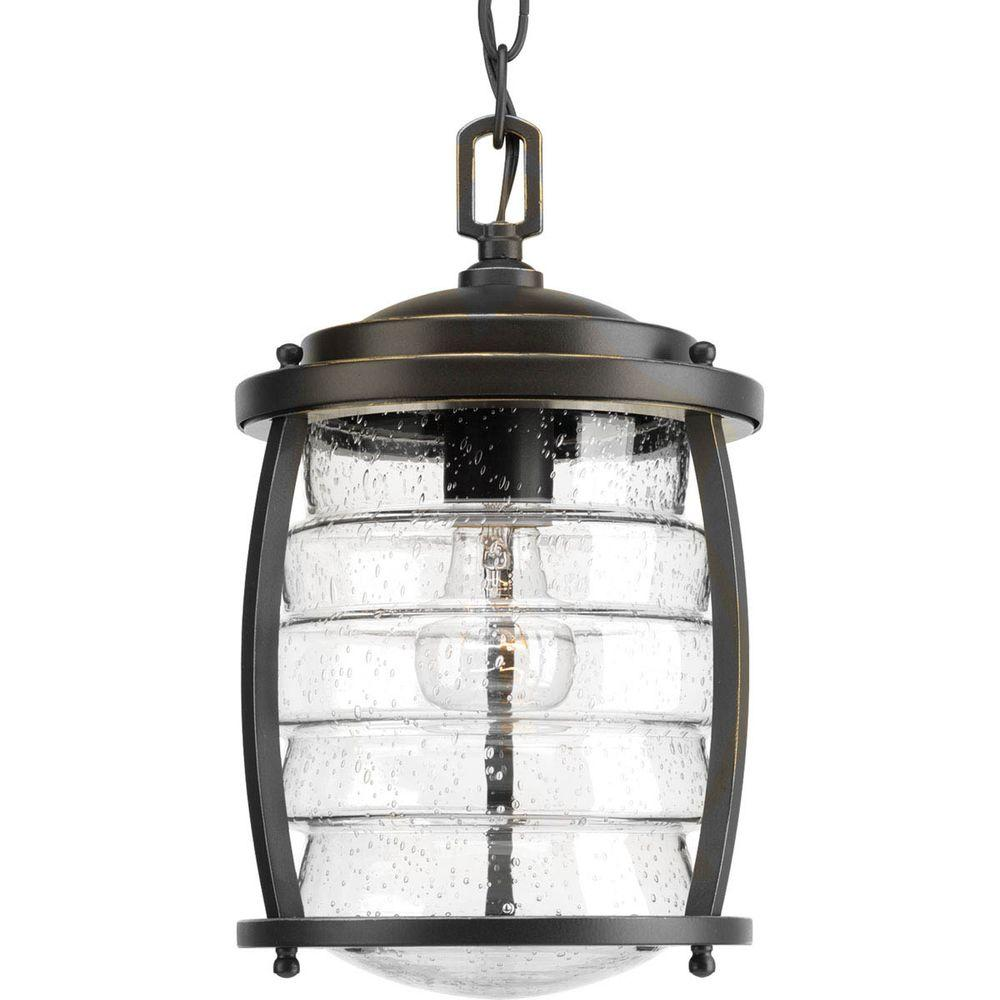 Progress Lighting Signal Bay Collection 1-Light Outdoor Oil-Rubbed Bronze Hanging Lantern
