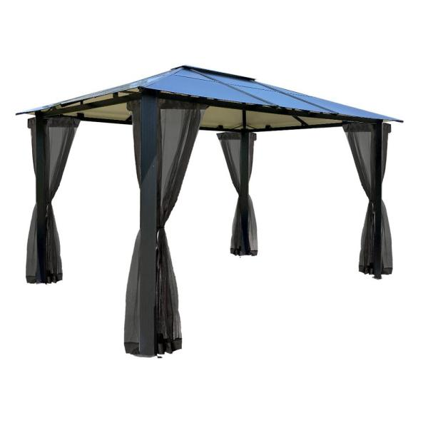 Paragon 10 ft. x 12 ft. Aluminum Hard Top Gazebo with Mosquito Netting