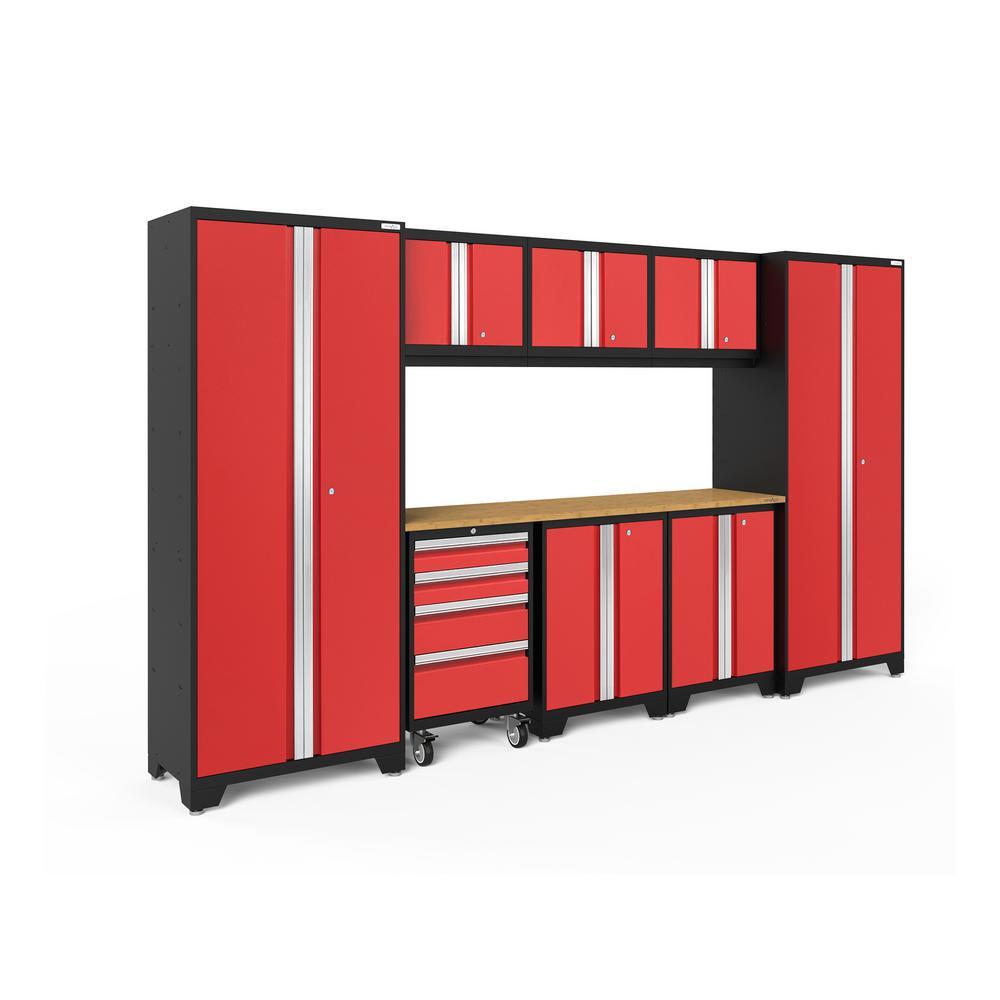 Bold 3.0 77.25 in. H x 132 in. W x 18 in. D 24-Gauge Welded Steel Garage Cabinet Set in Red (9-Piece)