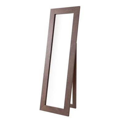 Oversized Rectangle Brown Modern Mirror (72 in. H x 1 in. W)