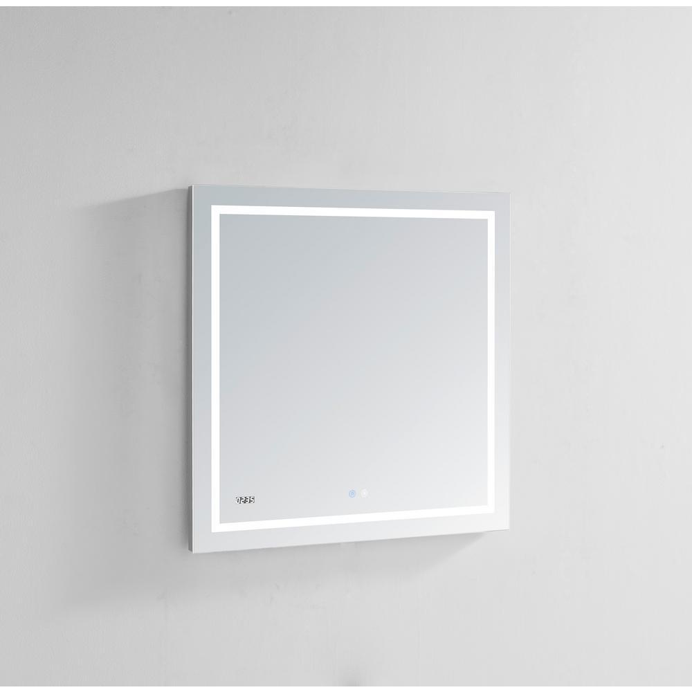 Aquadom Daytona 30 in. W x 30 in. H Frameless Bathroom Mirror with LED Lighting and Mirror Defogger