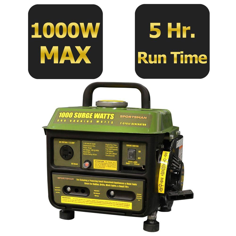 1,000-Watt 2-Stroke Gasoline Powered Portable Generator with Brushless Motor