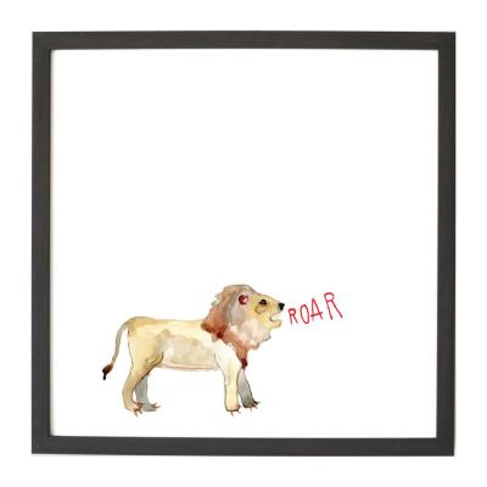 Watercolor Lion Ebony Frame Magnetic Memo Board