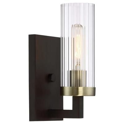 Ainsley 1-Light Aged Kingston Bronze with Brushed Brass highlights Bath Light