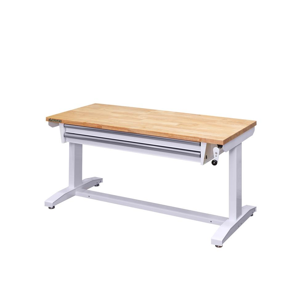 Husky 52 in  Adjustable Height Workbench Table with 2-Drawers in Black