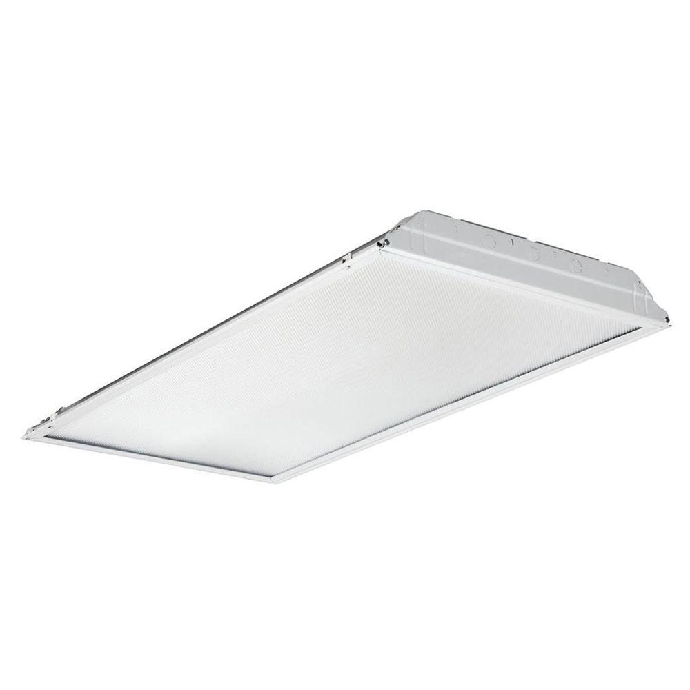 Commercial lighting lighting the home depot 2 ft x 4 ft white led lay in troffer with prismatic lens arubaitofo Image collections
