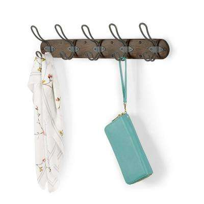Millbrook Coffee/Industrial Gray Wood Wall Mount 5-Hook Coat Rack