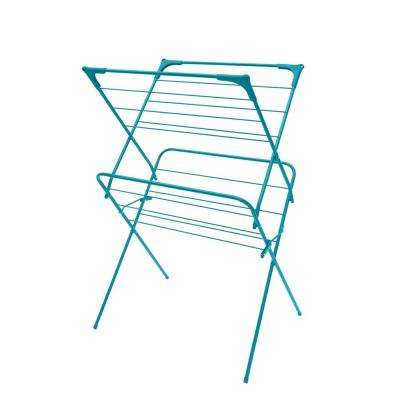 24.5 in. x 38 in. Turquoise Enamel Coated Steel Garment Rack