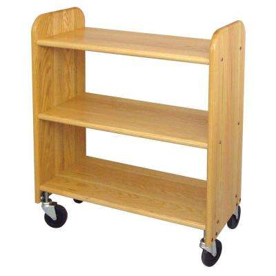 14 in. Natural Oak Book Truck
