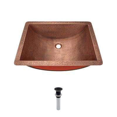 Undermount Bathroom Sink in Copper with Grid Drain in Antique Bronze