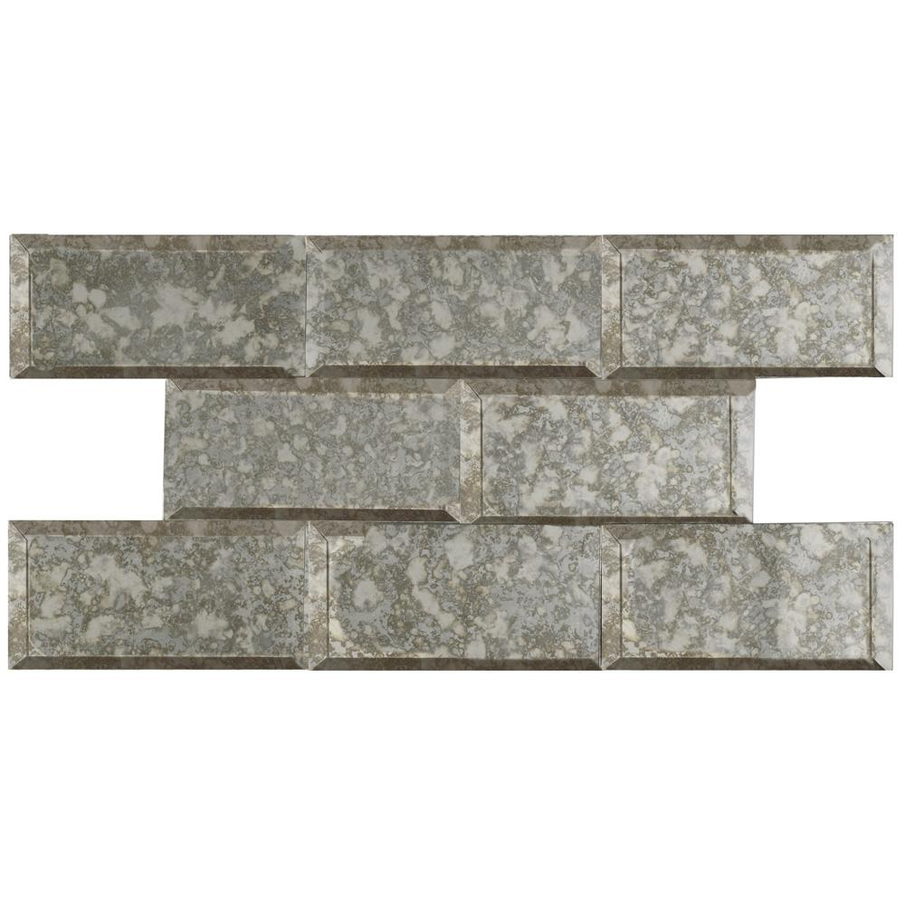 MerolaTile Merola Tile Lustre Beveled Antique Mirror 3 in. x 6 in. Glass Subway Wall Tile (1 sq. ft. / pack), Antique Mirror / High Sheen
