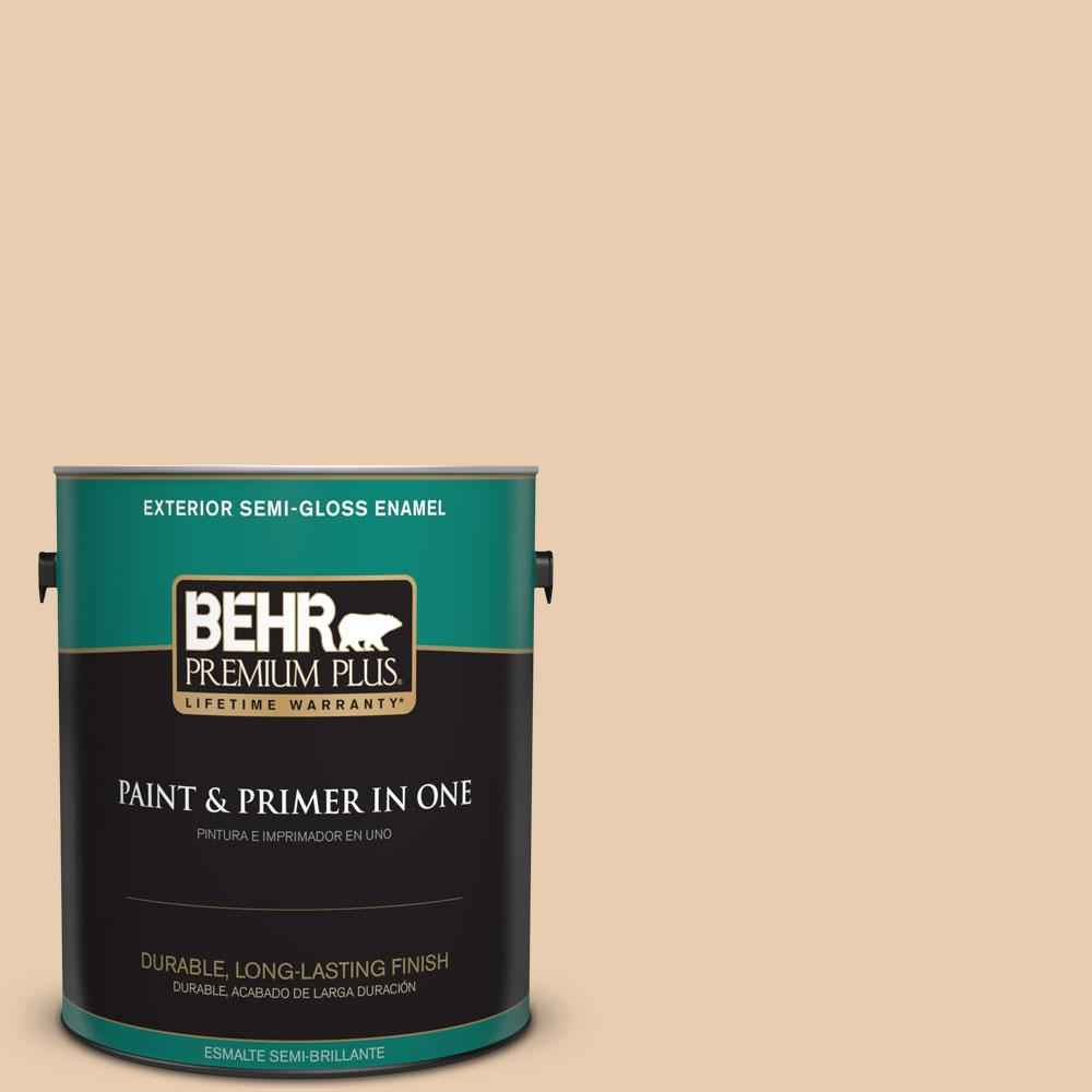 BEHR Premium Plus 1-gal. #BXC-64 Shortbread Cookie Semi-Gloss Enamel Exterior Paint