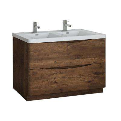 Tuscany 48 in. Modern Double Bath Vanity in Rosewood with Vanity Top in White with White Basin