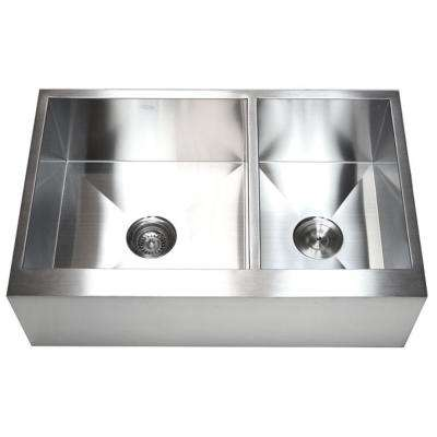 Farmhouse Flat Apron Front Stainless Steel 33 in. x 21 in. x 10 in. 16-Gauge Double 60/40 Bowl Zero Radius Kitchen Sink