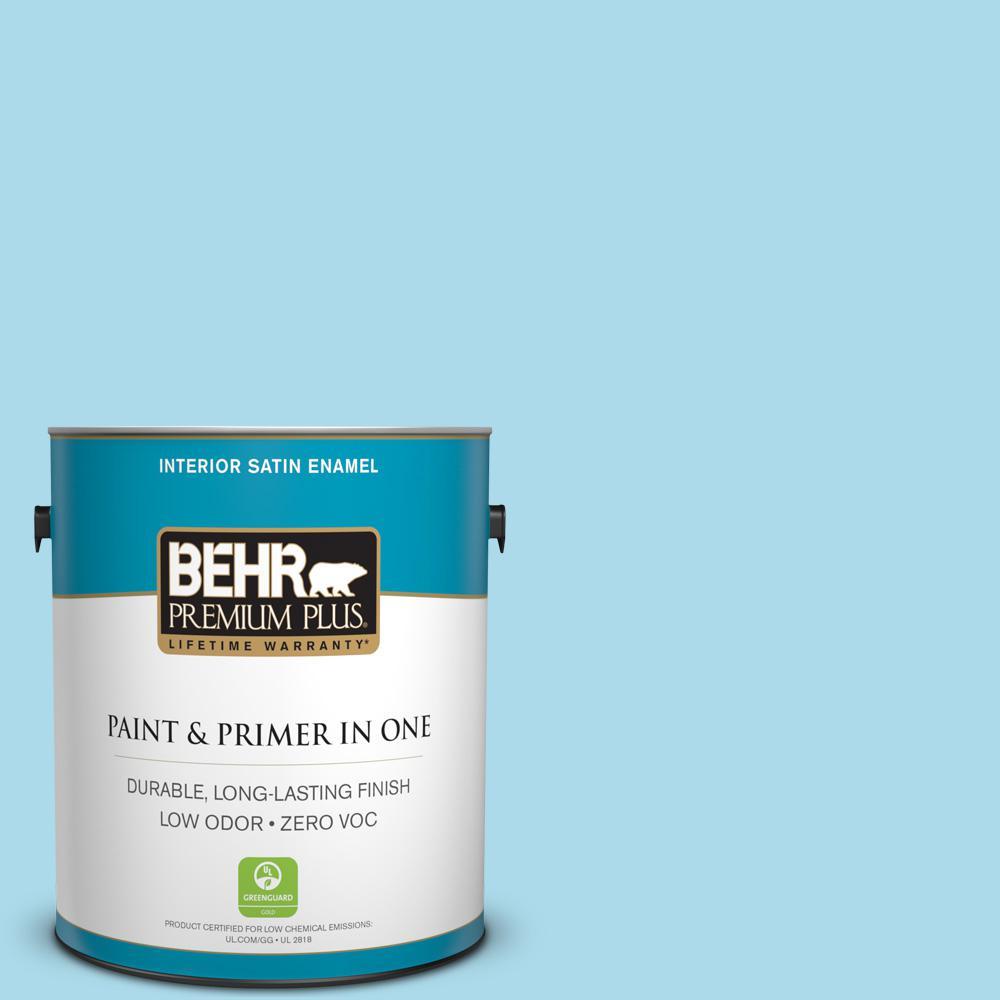 1-gal. #530A-3 Frosty Glade Zero VOC Satin Enamel Interior Paint