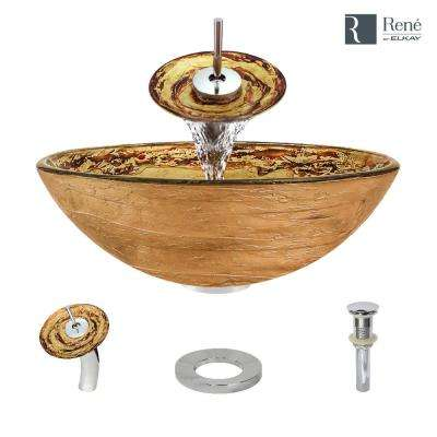 Glass Vessel Sink in Golden and Auburn with Waterfall Faucet and Pop-Up Drain in Chrome