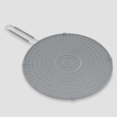 13 in. Gray Silicone Splatter Screen with Non-Slip Grip
