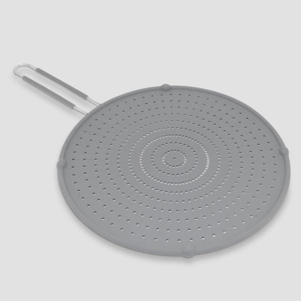ExcelSteel 13 in. Gray Silicone Splatter Screen with Non-Slip Grip
