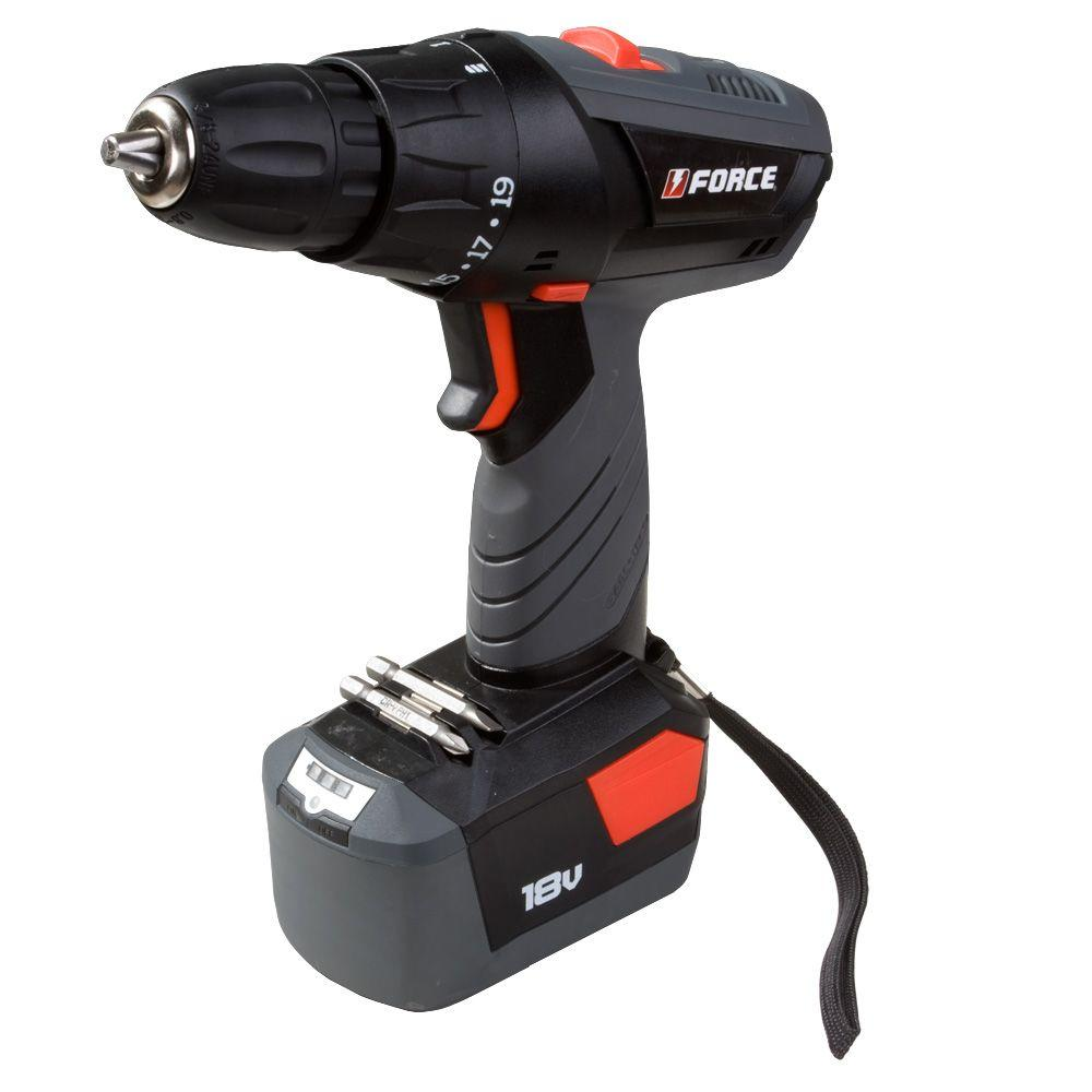 Force 18-Volt Cordless Drill with Single Battery