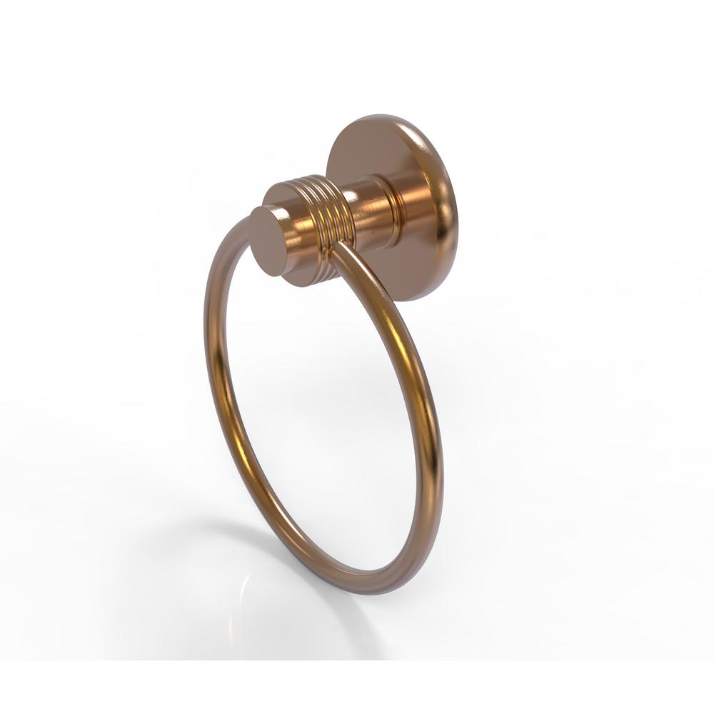 Mercury Collection Towel Ring with Groovy Accent in Brushed Bronze