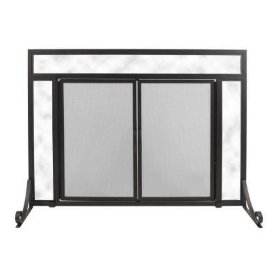 Manchester Large Size Black Steel and Glass Single-Panel Fireplace Screen with Doors