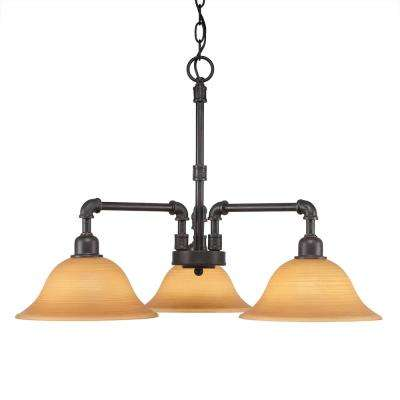 3-Light Dark Granite Chandelier with 10 in. Cayenne Linen Glass