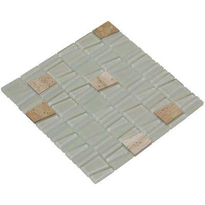 Avery/02, Beige Glass And Natural Travertine, 12 in. x 12 in. x 8 mm Mesh-Mounted Mosaic Tile (10 sq. ft. / case)