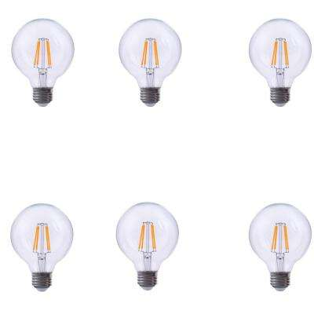 40-Watt Equivalent G40 Globe Dimmable Clear Glass Filament LED Light Bulb Warm White 2700K (6-Pack)