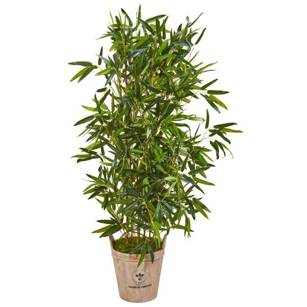 Indoor 58-In. Bamboo Artificial Tree in Farmhouse Planter