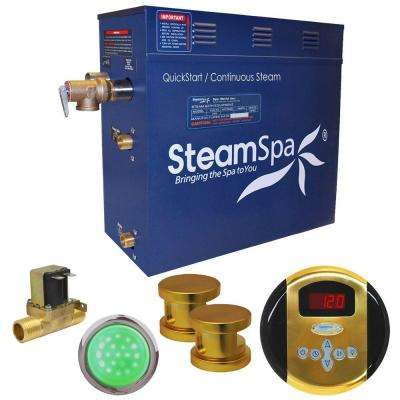 Indulgence 12kW QuickStart Steam Bath Generator Package with Built-In Auto Drain in Polished Gold