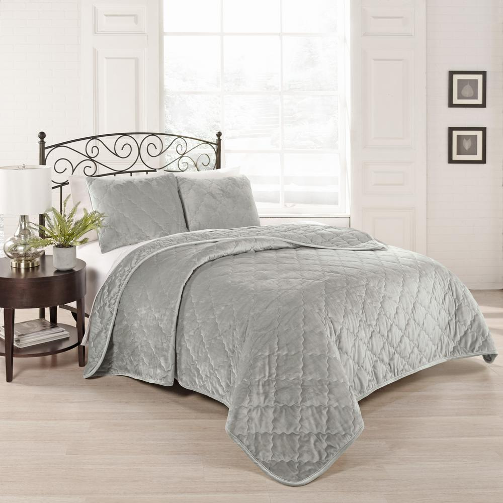 Collette 3-Piece Silver Queen Coverlet Set