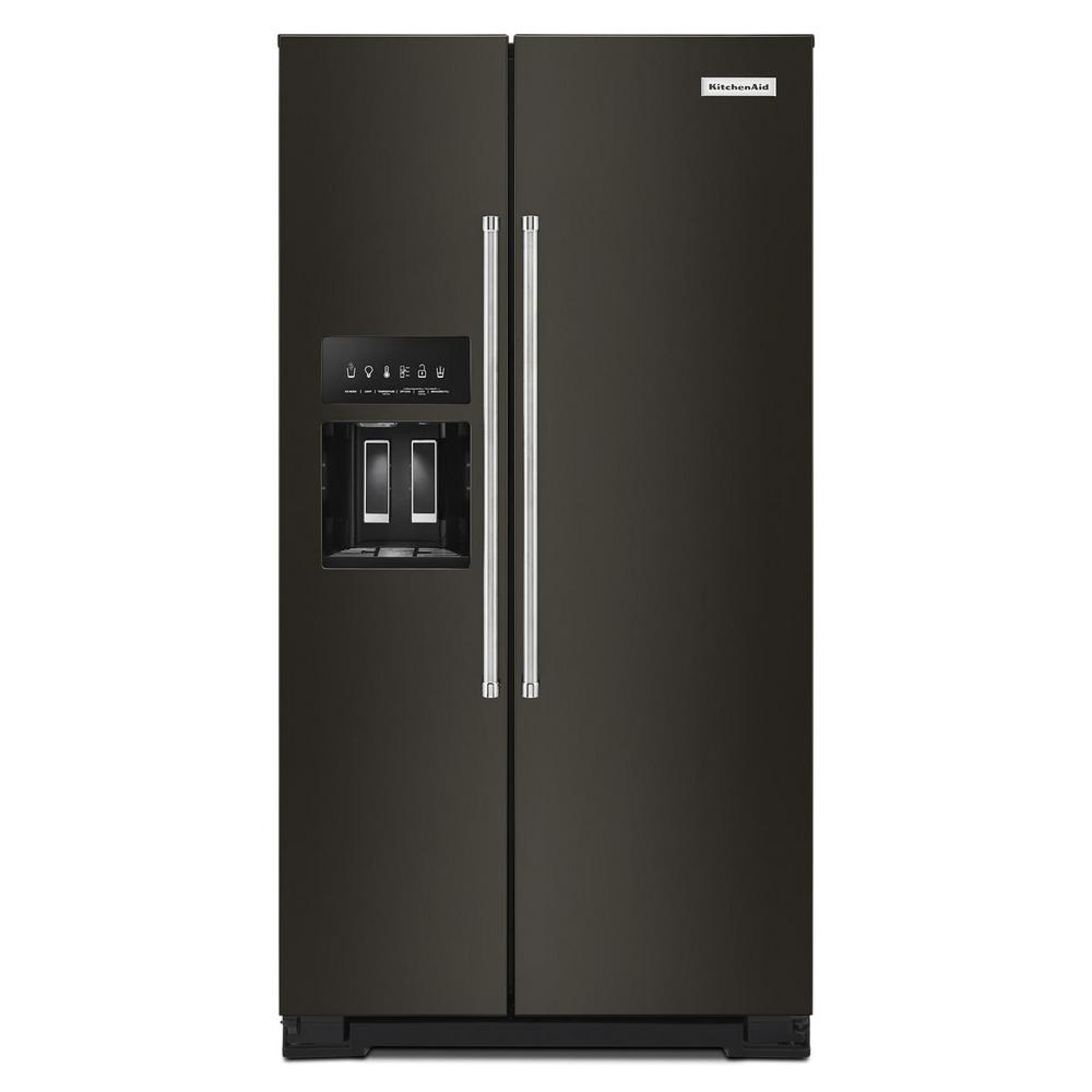 KitchenAid 24.8 cu. ft. Side by Side Refrigerator in Black Stainless Steel  with PrintShield Finish