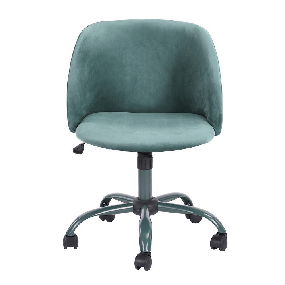 Matthews Aqua Velvet High Adjustment Swivel Office Desk Chair