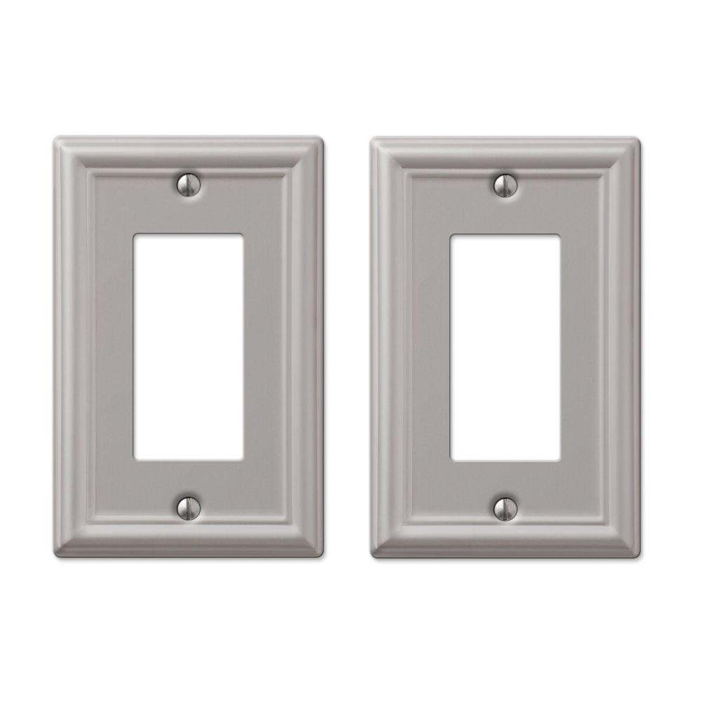 Hampton Bay Ascher 1 Decora Wall Plate In Brushed Nickel Steel 2 Pack