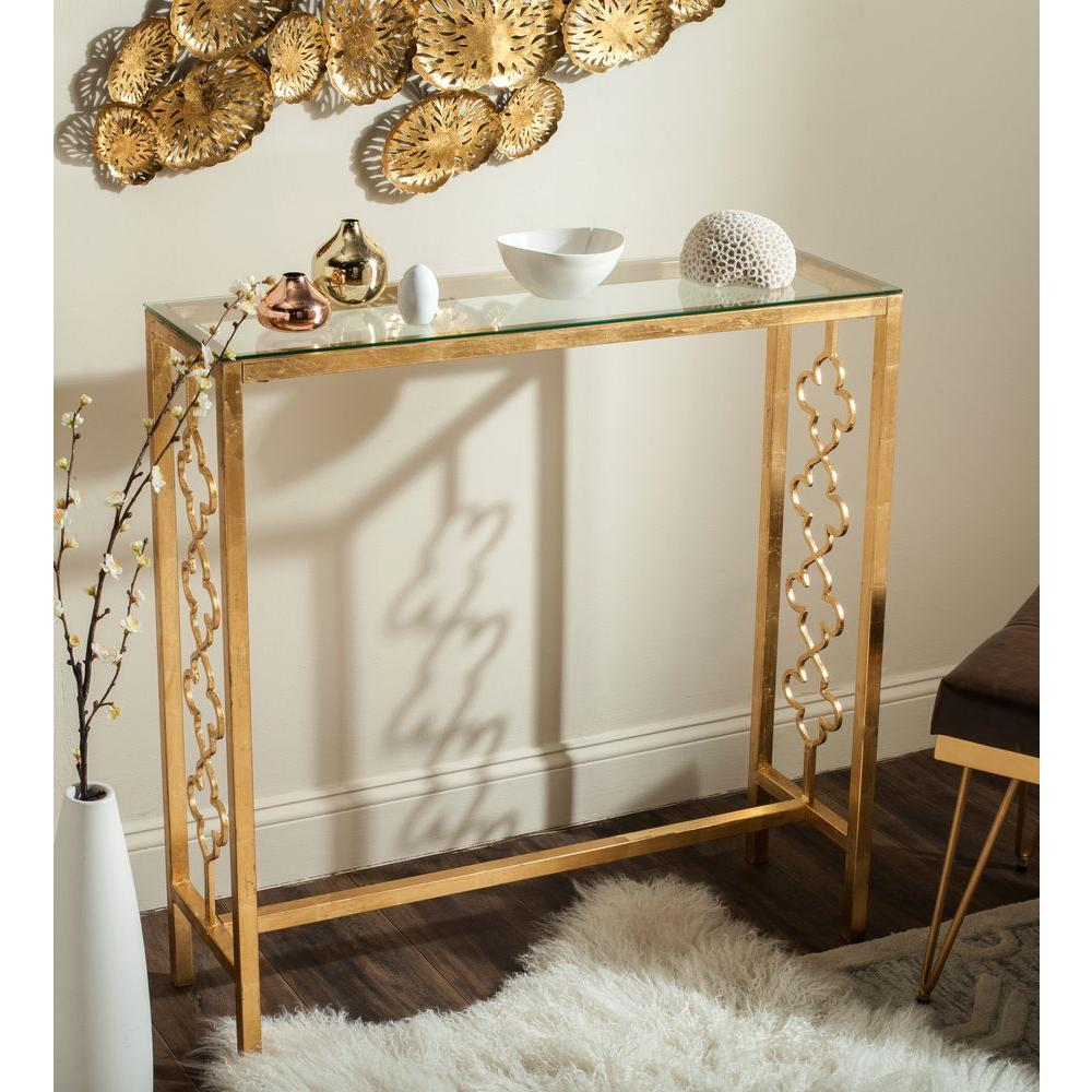 Safavieh Jovanna Antique Gold Leaf Glass Top Console Table
