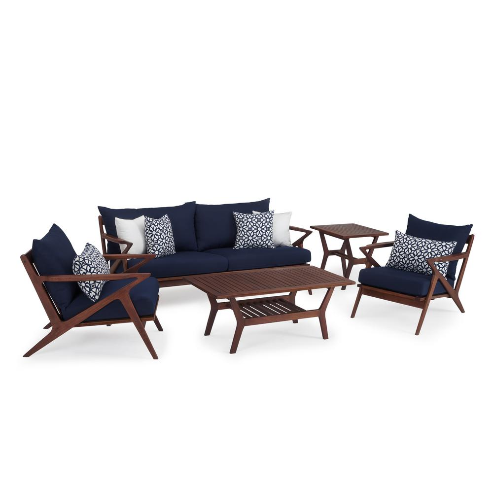 Amazing Rst Brands Vaughn 5 Piece Wood Patio Conversation Set With Sunbrella Navy Blue Cushions Pabps2019 Chair Design Images Pabps2019Com