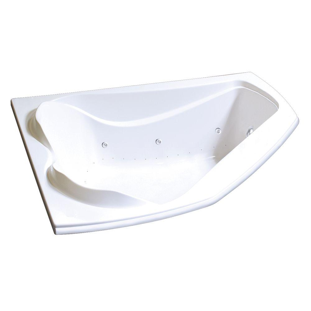 MAAX Velvet 5 ft. Center Drain Soaking Corner Tub with Combined Hydrosens and Bubble Tub in White