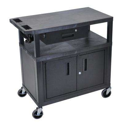 32 in. A/V Cart with 1-Drawer and Cabinet in Black