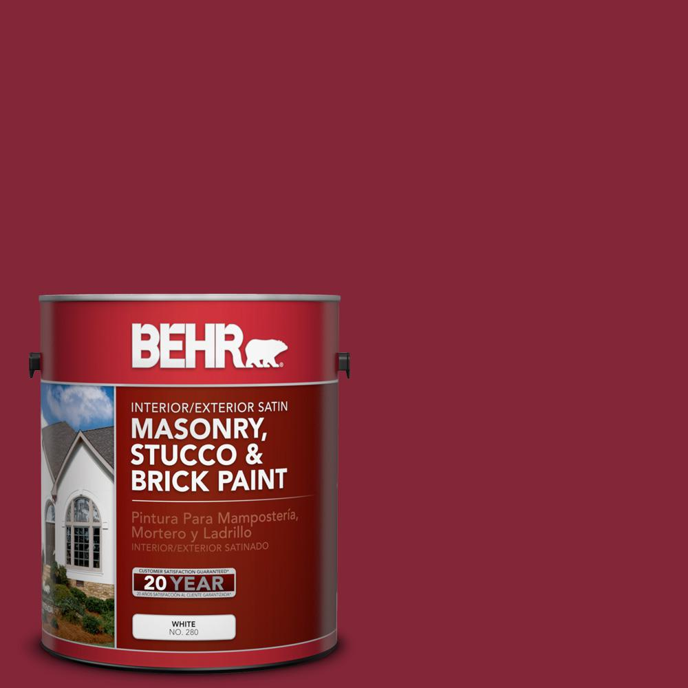 1 gal. #M140-7 Dark Crimson Satin Interior/Exterior Masonry, Stucco and Brick