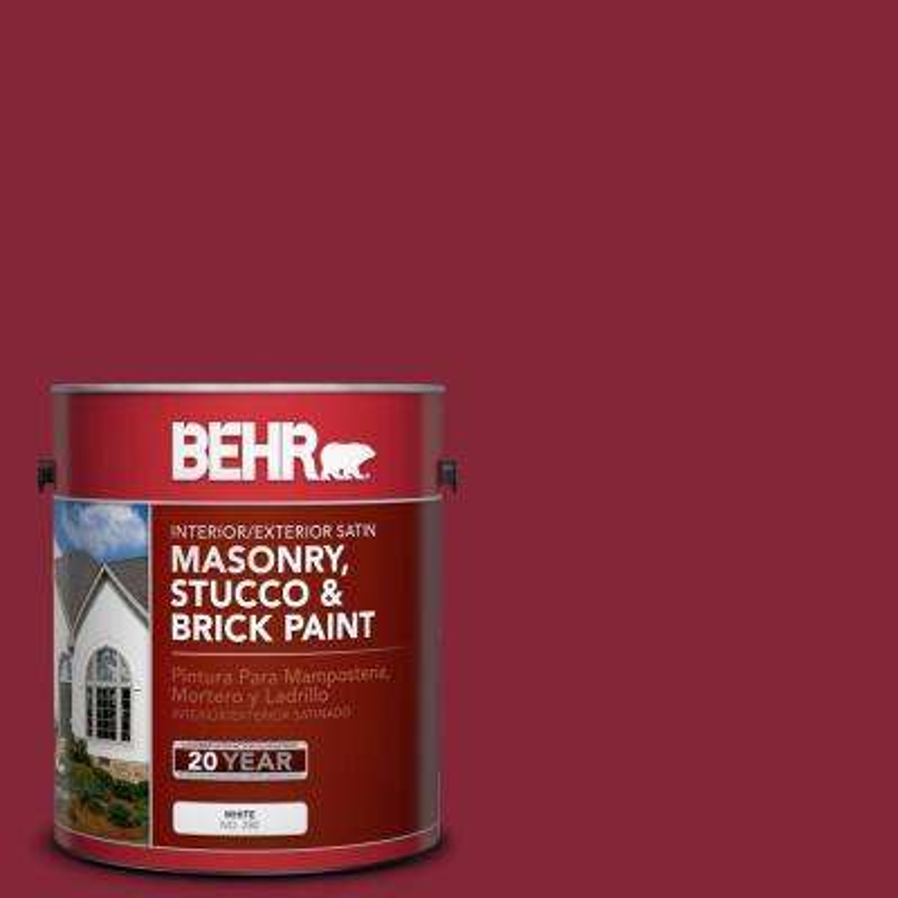 1 gal. #M140-7 Dark Crimson Satin Interior/Exterior Masonry, Stucco and Brick Paint