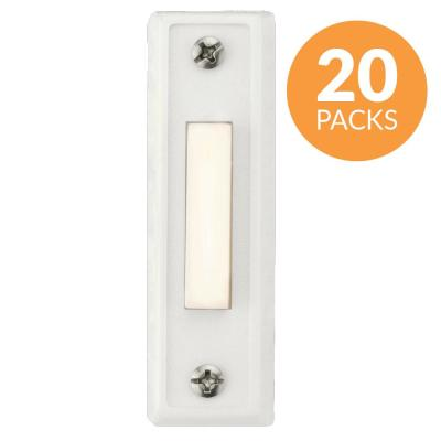Rectangular Lighted Wired Doorbell Push Button, White (20-Pack)