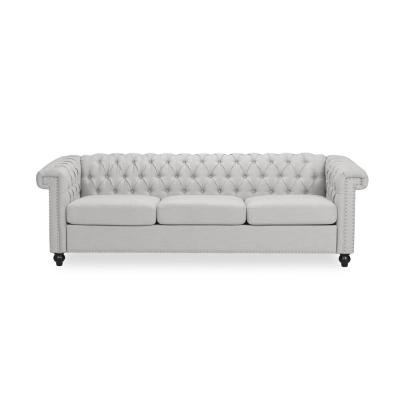 Parkhurst 83 in. Pebble Grey Solid Fabric 3-Seater Chesterfield Sofa