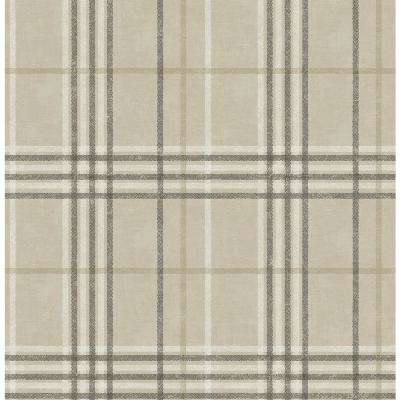 Rockefeller Beige Plaid Paper Strippable Roll (Covers 56.4 sq. ft.)